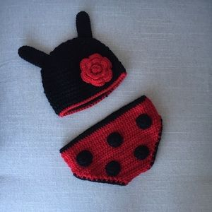 Other - Ladybug knitted hat and diaper cover . 0-9 months